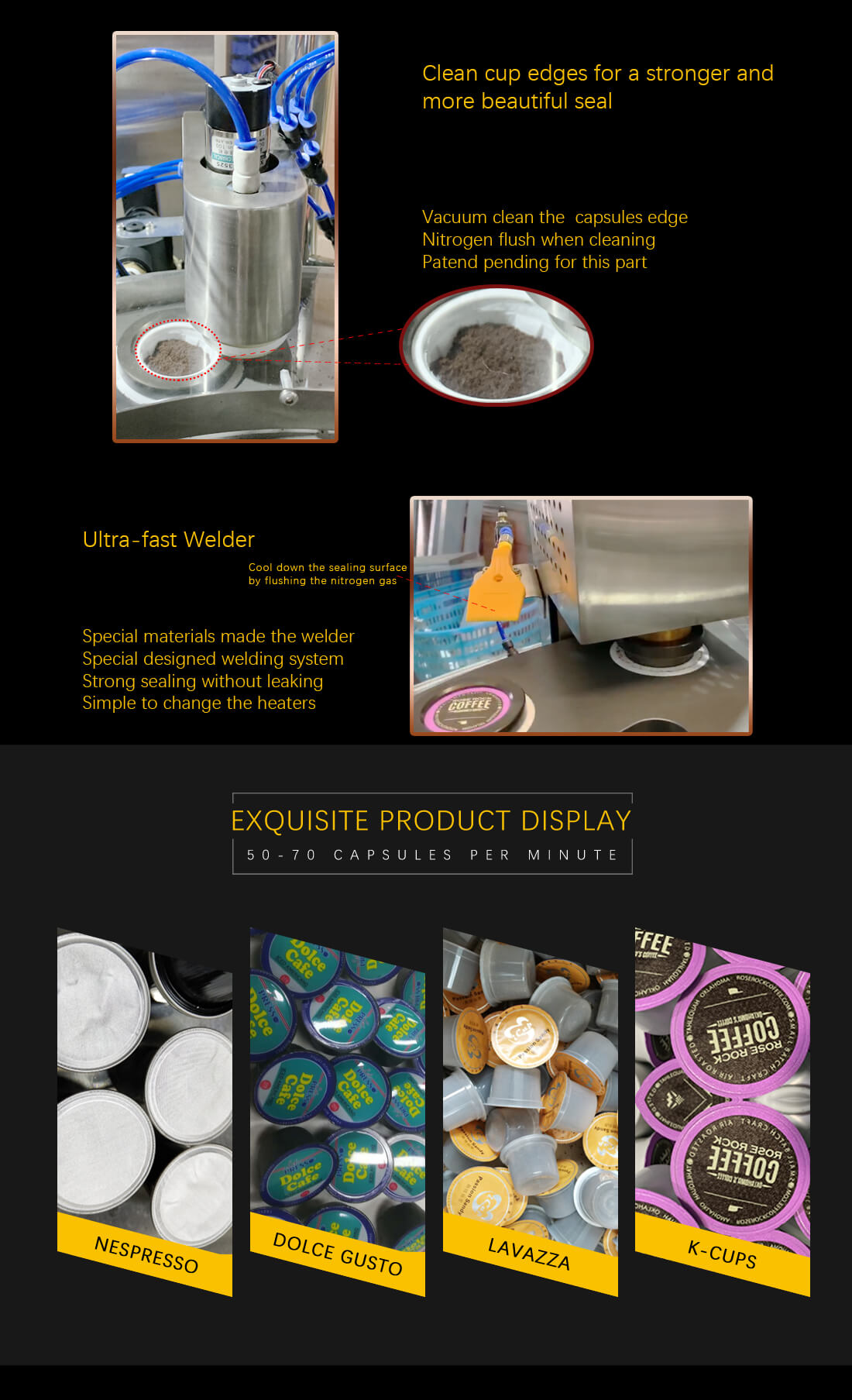 rotary nespresso capsules filling sealing packaging machine