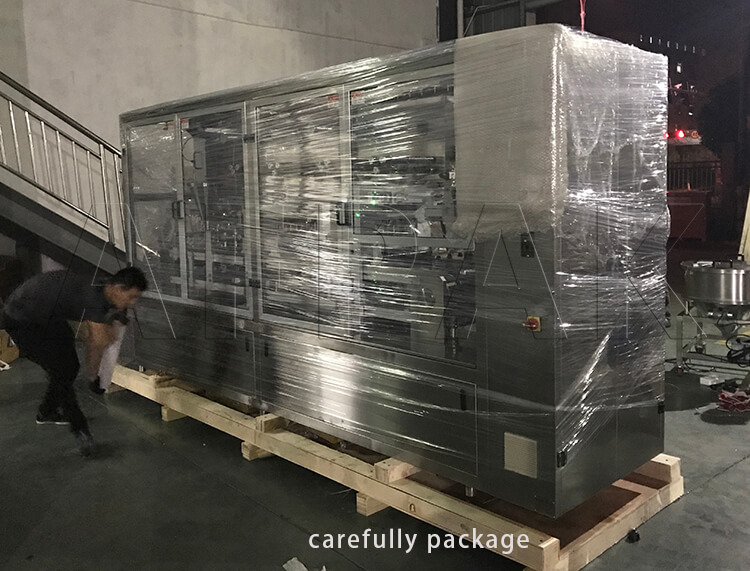 carefully package of Dolce Gusto filling sealing packaging machine