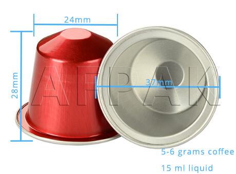 size of aluminum nespresso capsules