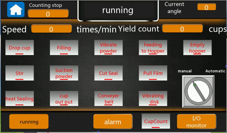 Figure 19 - Main running screen of coffee capsule machines