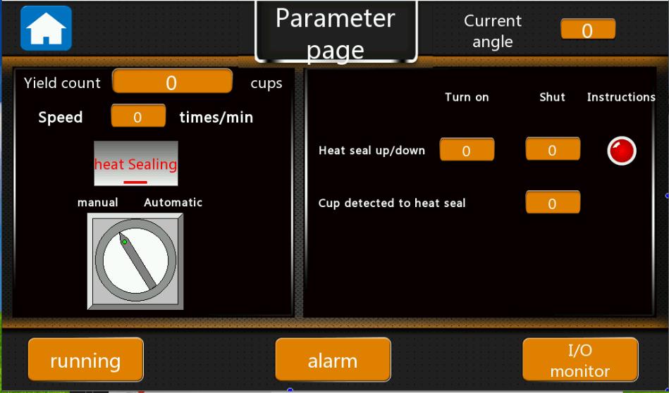 Figure 24 - Parameters setting for heat sealing of coffee capsule machines