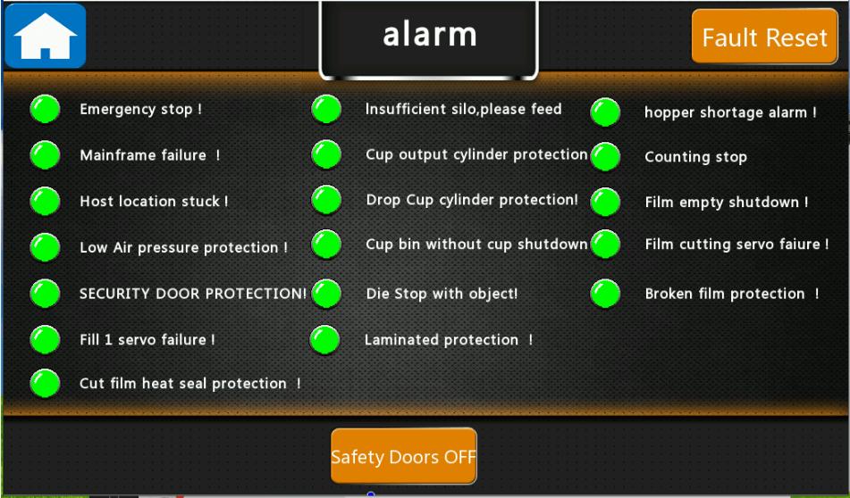 Figure 26 - Alarm Screen of coffee capsule filling sealing machine AFPAK