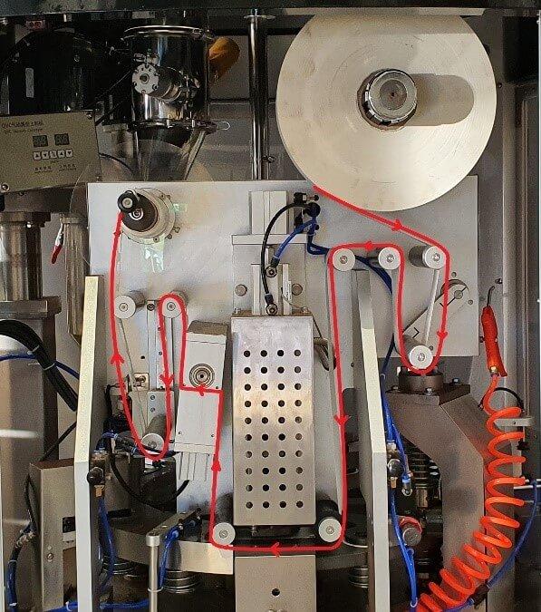 Figure 7 - run paper as follows of coffee capsule filling sealing machine