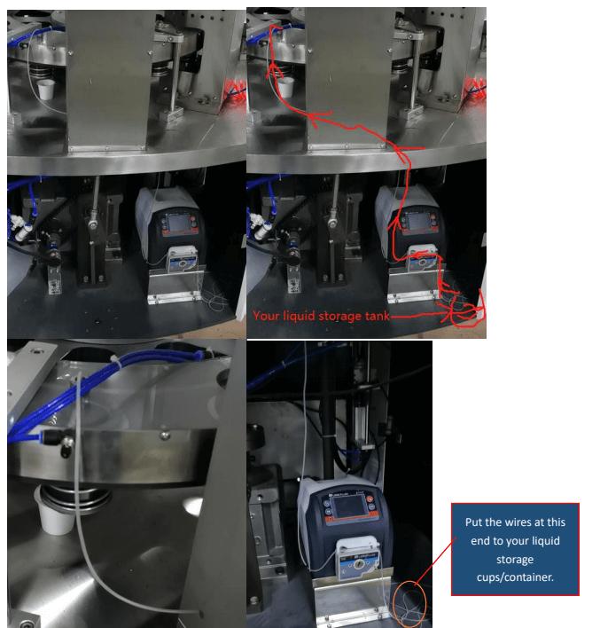 Liquid filling system connection on K CUP FILLER SEALER