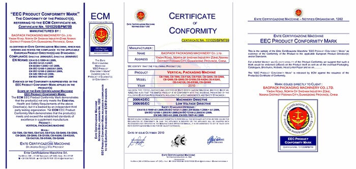 Certificate of bagger packaging machine factory