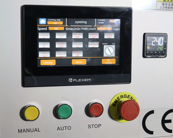 Control panel of K cup manufacturing equipment